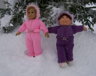 7) Knit Snowsuit with a Hood for 15 and 18 Inch Dolls -- American Girl, Cabbage Patch, Bitty Baby, Preemie, Girlz or Gotz Dolls