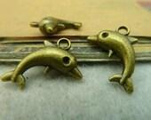 20pcs 14x17mm The Dolphins Antique Bronze Retro Pendant Charm For Jewelry Bracelet Necklace Charms Pendants C3547