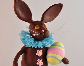 Polymer Clay Chocolate Easter Bunny Figurine