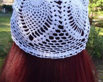 Crocheted white summer hat