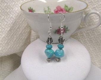 Aqua & Turquoise Silver Plated Dangle Earrings