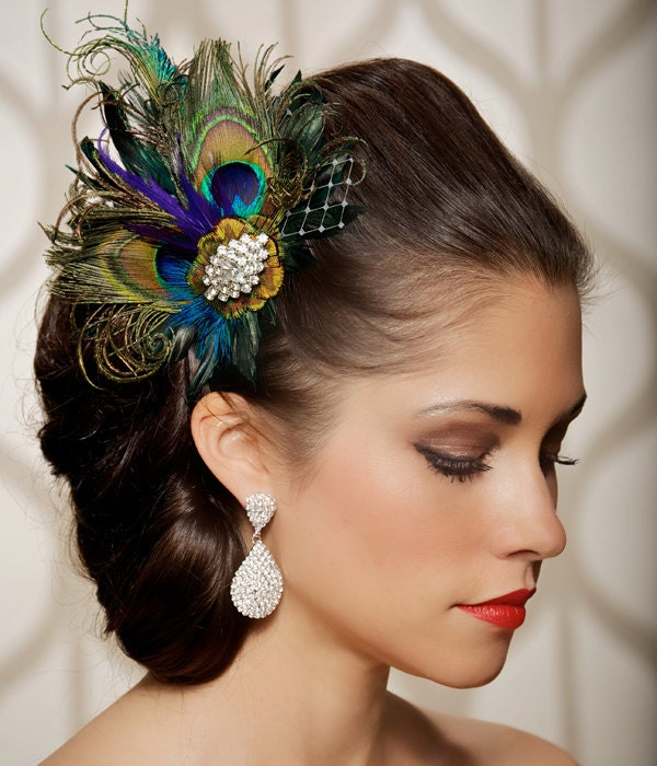 Peacock Wedding Ideas Etsy: Royal Blue Peacock Hair Clip Bridal Head Piece Peacock Feather