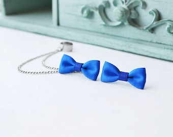 Blue Bow Silver Ear Cuff Earrings (Pair)