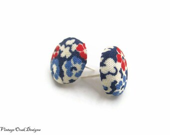 Liberty Flower Patriotic Studs,  Patriotic fabric button earrings, flower studs, summer fashion, Memorial Day Studs, 4th of July Earrings
