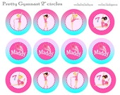 GYMNASTICS Birthday girl Party Cupcake toppers Thank you tags Pink Personalized you print at home