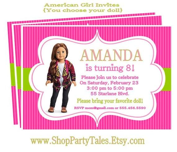 Similiar American Girl Saige Birthday Invitation Keywords – American Girl Doll Party Invitations