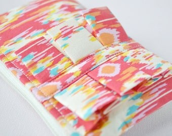 Coin purse wallet Amy Butler Retro style Ikat style print red,orange,pink and aqua blue with ruffle.