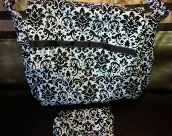 Gorgeous Personalized Messenger Diaper Bag in Rosa Clasico Damask
