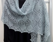 Mint or Grey hand knitted luxury stole, romantic, airy but warm.