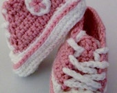Baby Converse High Top Crochet Soft Bottom Shoes - Retro Newborn Coverse Shoes - MADE TO ORDER