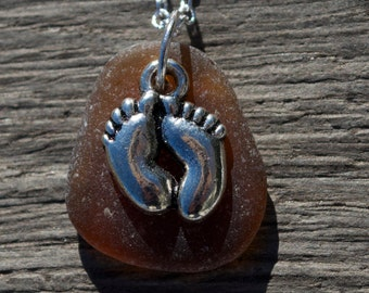 Sea Glass Jewelry Brown Sea Glass Feet in Sand Necklace