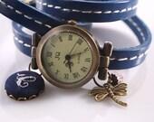 """SALE 50% off: Genuine Leather - Wristwatch, wrap watch, watch, """"Dragonfly"""""""