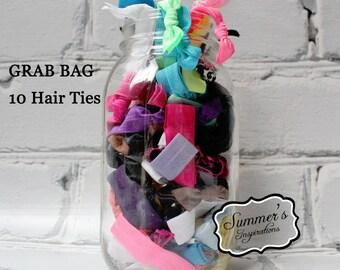 Hair Tie - 10 Hair Ties - Grab Bag Elastic Hair Ties - Creaseless Hair Ties
