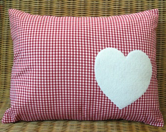 "Appliqued Heart Pillow with Red & White Gingham Print, 12"" x 16"""