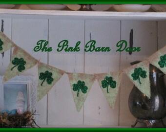 St. Patricks Day burlap banner pennant