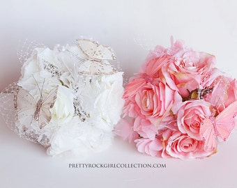 Silk Rose Butterfly  Wedding Bouquet