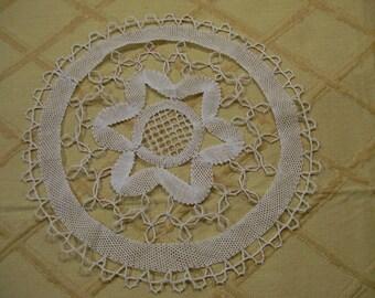 Bobbin Lace Doily Antique Ecru Hand Done Star or Snowlake Design