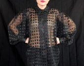 Sale 19.00 was 37.00 Vintage Late 80s John Tyoran Exclusiff Blouse with Dolman Sleeves Metalic and Black Square
