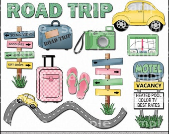 Road Trip Clipart and Graphic Set, Travel Clipart, Vacation Clipart, Summer Clipart - Digital Scrapbooking Kit