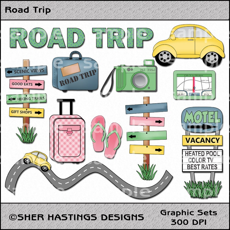 Road Trip Clipart and Graphic Set Travel Clipart Vacation
