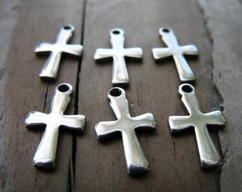 20 Stainless Steel Cross Charms 12mm
