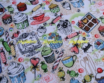 "W197D  - Vinyl Waterproof Fabric - Icecream candy cake and coffee - green  - 27""x19""(70cmX50cm)"