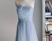 2016 Baby Blue Bridesmaid Dress, Strapless Wedding dress, Short Party dress, Formal dress, Prom dress, Rosette dress knee length (B016)