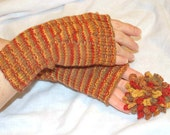 Knit Gloves, Knit Mittens, Brown and Orange Gloves, Knit Fingerless Gloves, Wrist Warmers, Knit Wrist Warmers