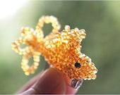 Cute Golden beaded Fish Brooch Animal Brooch for Teenage Girl