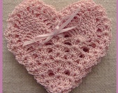 4 Crocheted Heart Shaped Coasters / Trivets