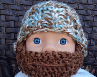 Baby Bearded Beanie -  White, Blue and Brown Hat W/ Medium Brown Beard 0-6 Months Beard face mask