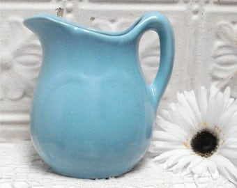 "6 1/2"" Blue Cream Pitcher Embossed Design"