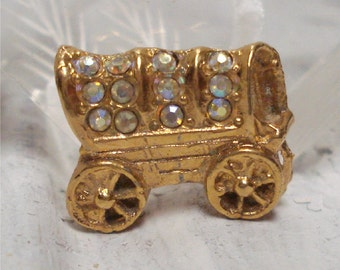 6/8 AB Covered Wagon Pin Brooch Tiny