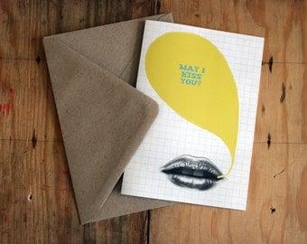 Happy Valentine Love Kiss Eco Friendly Welsh Art Greeting Card