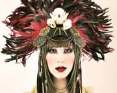 RESERVED for Amanda Roberts - Urban Warrior Feather Headdress with animal skulls