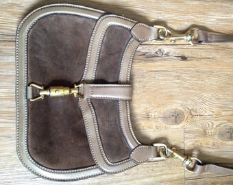 Vintage Italian Jackie O Handbag Piston Brass Closure