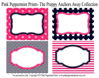 New INSTANT DOWNLOAD The Preppy Pink and Navy Blue Anchors Away Printable Party Collection Party Labels