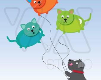 Doggie and Cat Balloons Print - Illustration, Nursery Art, Wall Art, Decor, Cute, Colorful, Schanuzer, Balloons, Cat, Doggie, Pet, Print