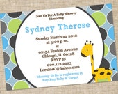 Printable Baby Boy Shower Invitation, Personalized Digital Design, Customize