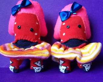 Sock plush -sock monsters-Twin Girls-Double Trouble-socks-hand stitched.