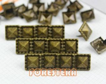 100Pcs 10.5mm Antique Brass Dotted Border PYRAMID STUDS Metal Studs (BDP10)
