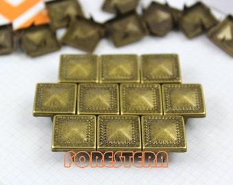 50Pcs 12.5mm Antique Brass Dotted Border PYRAMID STUDS Metal Studs (BDP12)
