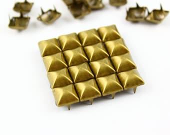 50Pcs 8mm Antique Brass Dome Pyramid Studs Metal Studs (BMP08)