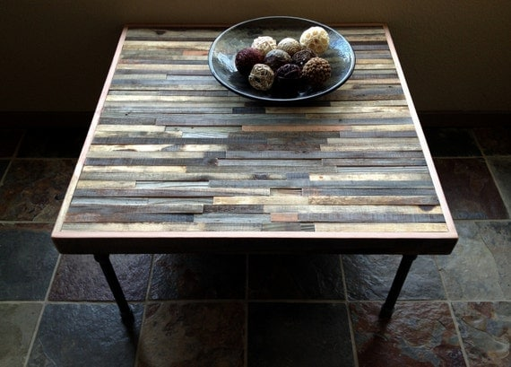 25% OFF Sale - Barn wood Coffee Table - Industrial - Mid-Century - Modern - Contemporary - Rustic Zen - Mosaic Pattern