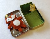 Fox in a Box with green bedding - wool felt fox and teddy bear in Altoids Tin - made to order - EarthyMamaGoods