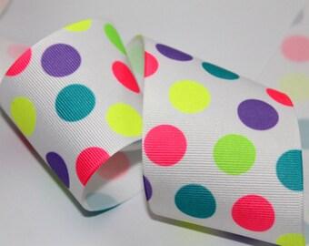 Neon Polka Dot Ribbon Wide Polka Dot Ribbon cheer bow ribbon Neon Grosgrain Ribbon Two Inch Ribbon