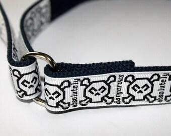 Little Boys Velcro D Ring Belt Skulls and Crossbones with Solid Navy Webbing Boys Velcro Skull Belt Hook and Loop Boys Belt