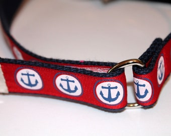 Red Anchor Belt Velcro Belt with D Ring Red Velcro Belt Anchor Velcro Belt Nautical Velcro Belt