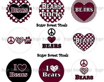 INSTANT DOWNLOAD Bears 2  School Mascot 1 inch Circle Bottlecap Images 4x6 sheet