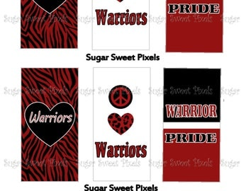 INSTANT DOWNLOAD  Warriors School Mascot Digital Rectangle Domino Size Images 4x6 sheet